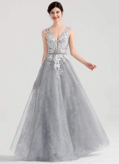 Princesový V-Výstřihem Délka na zem Tyl Večerní šaty