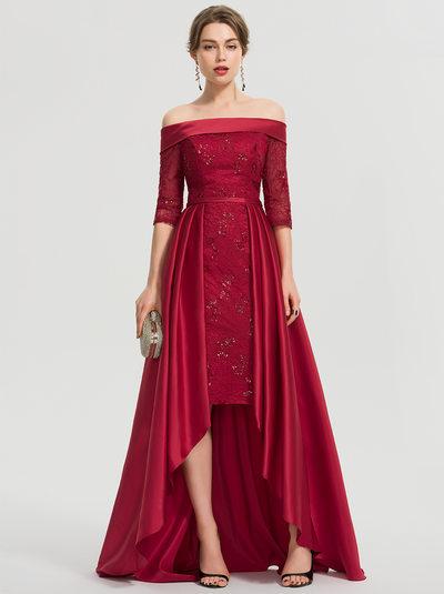 Трапеция Выкл-в-плечо асимметричный Атлас Платье Для Выпускного Вечера с блестки