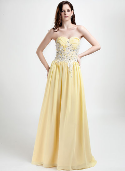 A-Line/Princess Sweetheart Floor-Length Chiffon Holiday Dress With Embroidered Ruffle Beading Sequins