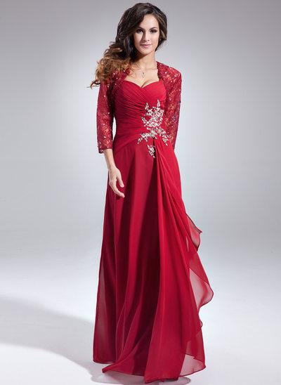 Forme Princesse Bustier en coeur Longueur ras du sol Mousseline Robe de mère de la mariée avec Emperler Sequins Robe à volants