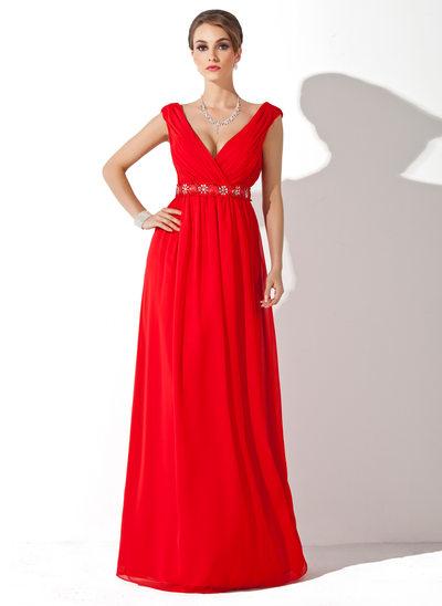 Çan/Prenses V Yaka Uzun Etekli Chiffon Gelin Annesi Elbisesi Ile Büzgü Boncuklama
