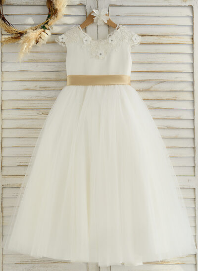 A-Line Ankle-length Flower Girl Dress - Satin/Tulle/Lace Sleeveless Scoop Neck With Sash/Rhinestone (Undetachable sash)