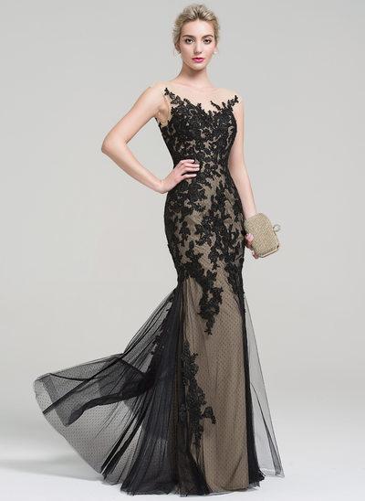 Trumpet/Mermaid Scoop Neck Floor-Length Tulle Lace Evening Dress