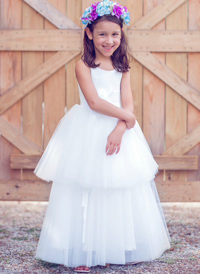 A-Line/Princess Floor-length Flower Girl Dress - Tulle/Cotton Sleeveless Scoop Neck