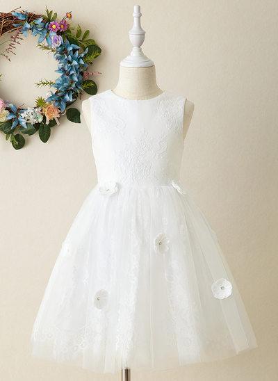 Corte A Coquetel Vestidos de Menina das Flores - Tule Sem magas Decote redondo