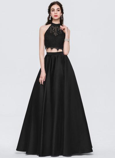 Платье для Балла Круглый Длина до пола Атлас Платье Для Выпускного Вечера