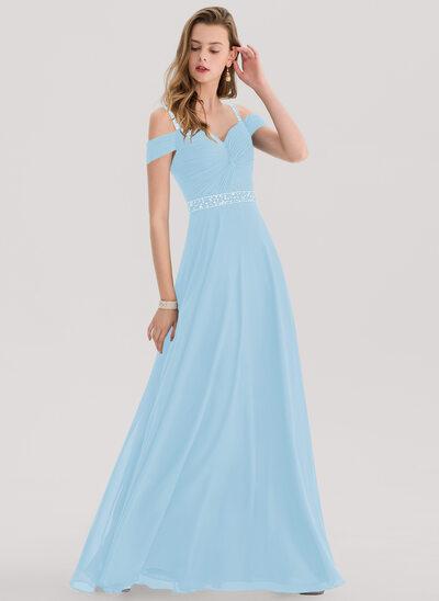 Corte A Amada Longos Tecido de seda Vestido de baile com Beading lantejoulas