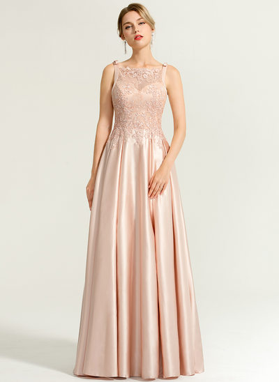 A-Line/Princess Square Neckline Floor-Length Satin Prom Dresses With Beading Sequins Bow(s)