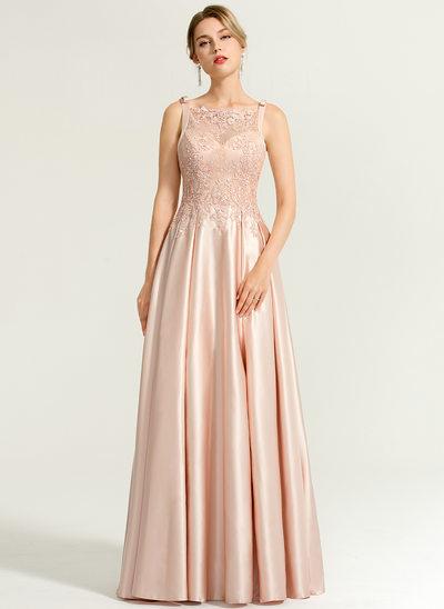 A-Line/Princess Square Neckline Floor-Length Satin Evening Dress With Beading Sequins Bow(s)