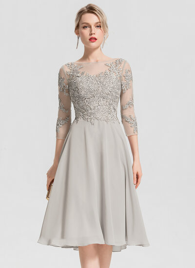 30423aa46e28 A-Line/Princess Scoop Neck Knee-Length Chiffon Cocktail Dress With Beading  Appliques