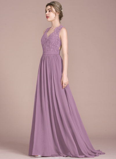 Vestidos princesa/ Formato A Decote V Sweep/Brush trem Tecido de seda Renda Vestido de baile