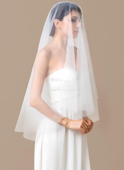 1 couche Voiles de mariée valse avec Bord de coupe