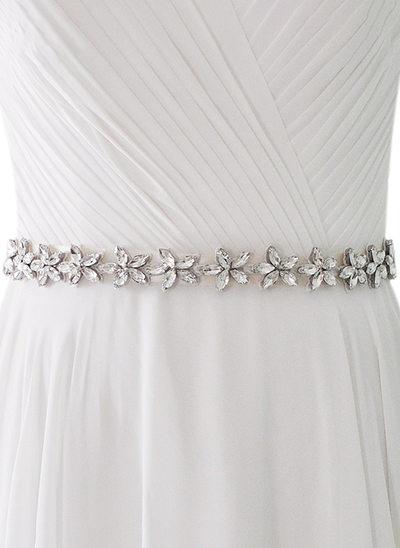 Simple Satén Fajas con Diamantes de imitación