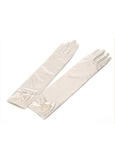 Elastic spandex With Imitation Pearls/Bow Elbow Length Glove