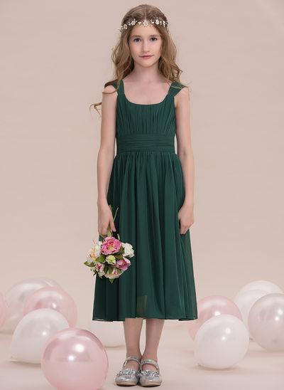 A-Line/Princess Square Neckline Tea-Length Chiffon Junior Bridesmaid Dress With Ruffle