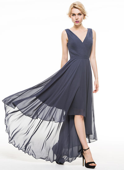 A-Line V-neck Asymmetrical Chiffon Evening Dress With Ruffle