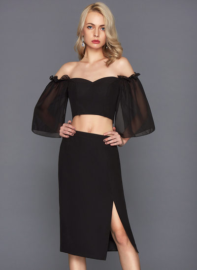 Sheath/Column Off-the-Shoulder Knee-Length Chiffon Cocktail Dress