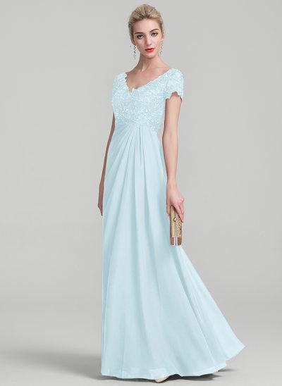Vestidos princesa/ Formato A Decote V Longos Tecido de seda Renda Vestido para a mãe da noiva com Pregueado Beading