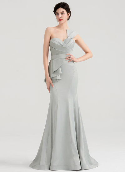 Trumpet/Mermaid Sweetheart Sweep Train Satin Evening Dress With Ruffle