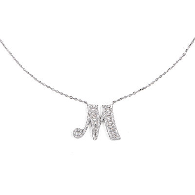 Christmas Gifts For Her - Custom Silver Initial Letter Initial Necklace