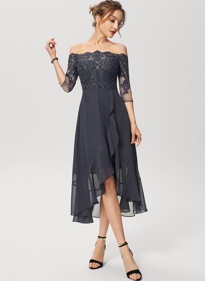 A-Linje Off-shoulder Asymmetrisk Chiffon Blonder Cocktailkjole med pailletter