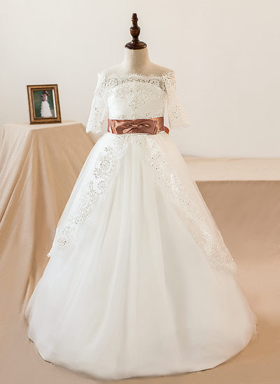 Ball Gown Sweep Train Flower Girl Dress - Tulle/Lace 1/2 Sleeves Off-the-Shoulder With Sash/Bow(s) (Petticoat NOT included)