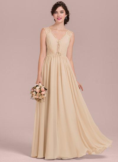 A-Linie/Princess-Linie V-Ausschnitt Bodenlang Chiffon Lace Brautjungfernkleid mit Rüschen Schleife(n)