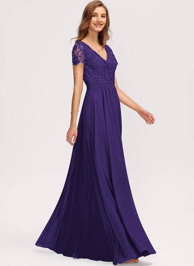 Трапеция V-образный Длина до пола шифон Платье Подружки Невесты с Разрез спереди