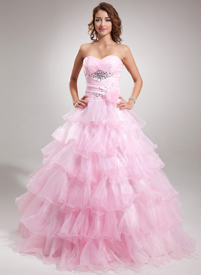 Ball-Gown Sweetheart Floor-Length Organza Prom Dress With Beading Flower(s) Cascading Ruffles
