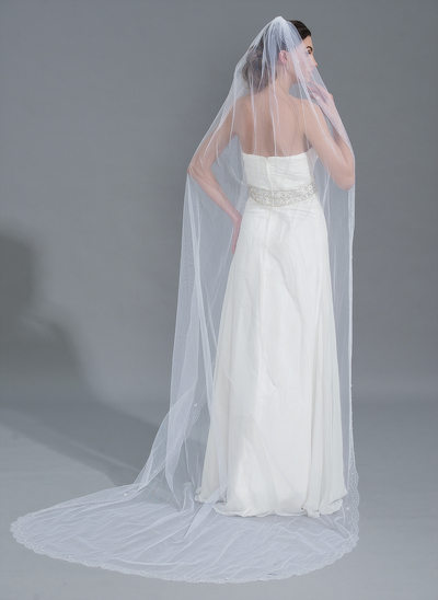 One-tier Lace Applique Edge Chapel Bridal Veils With Beading/Sequin