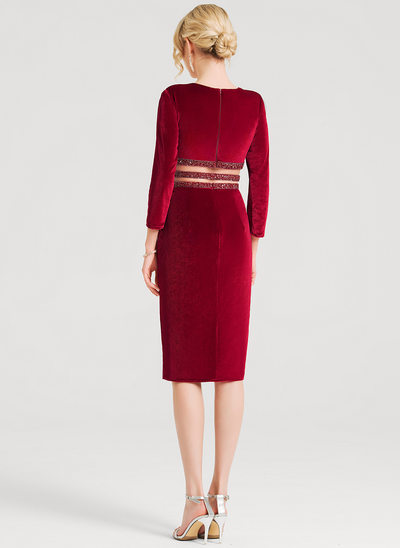 Sheath/Column V-neck Knee-Length Velvet Cocktail Dress With Beading