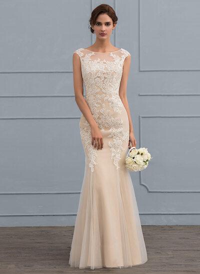 Trompete/Sereia Decote redondo Longos Tule Renda Vestido de noiva