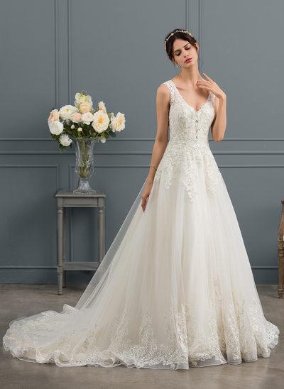 Платье для Балла V-образный Церковный шлейф Тюль Свадебные Платье с блестки