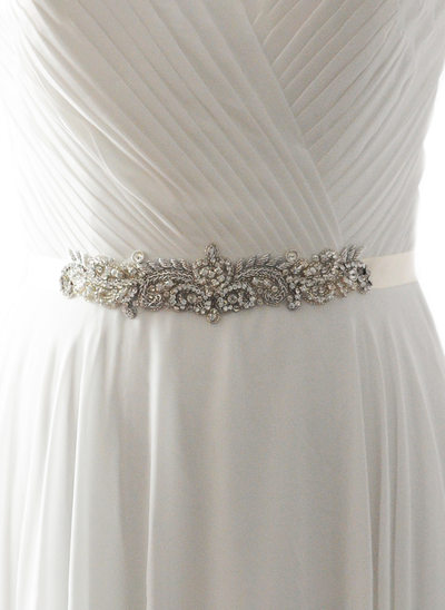 Elegant/Gorgeous Satin Sash With Rhinestones