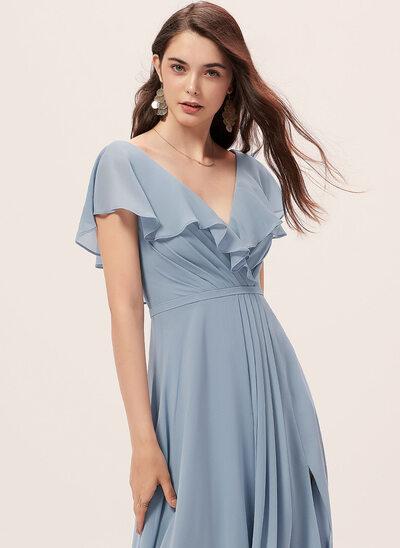 A-Linie V-Ausschnitt Bodenlang Brautjungfernkleid mit Schlitz Vorn