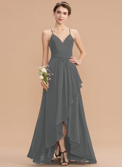 A-Line V-neck Asymmetrical Chiffon Lace Bridesmaid Dress