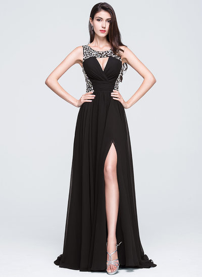 A-Line/Princess Scoop Neck Sweep Train Chiffon Prom Dresses With Beading Sequins Split Front