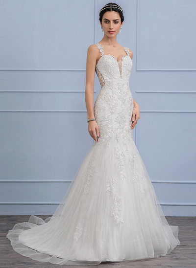 Trumpet/Mermaid Court Train Tulle Lace Wedding Dress With Beading