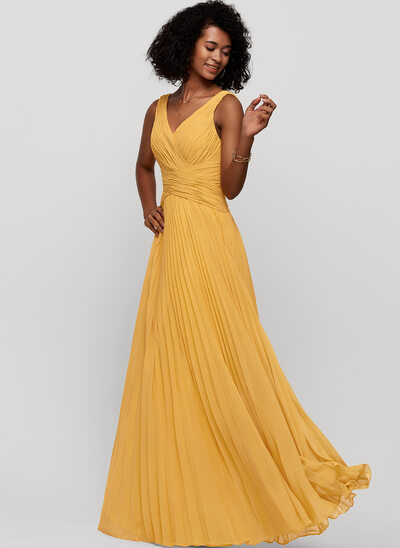 A-Line V-neck Floor-Length Chiffon Bridesmaid Dress With Pleated