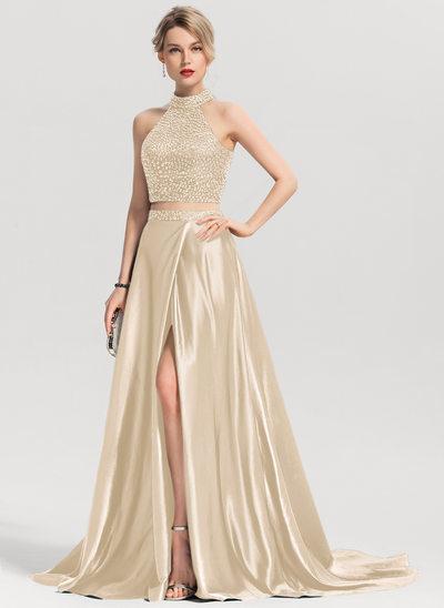 Vestidos princesa/ Formato A Decote redondo Sweep/Brush trem Charmeuse Vestido de baile com Beading Frente aberta