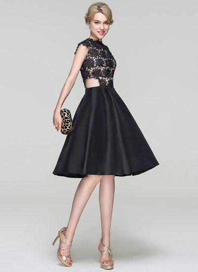 A-linjeformat Rund-urringning Knälång Taft Cocktailklänning