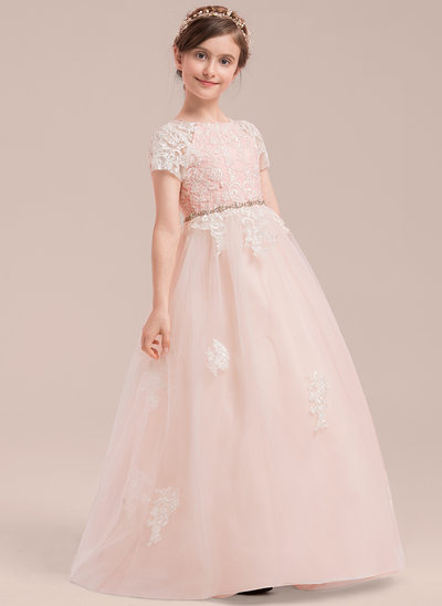 Ball Gown Floor-length Flower Girl Dress - Tulle/Lace Short Sleeves Scoop Neck With Beading
