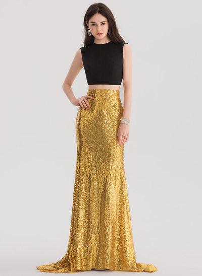 Corte trompeta/sirena Escote redondo Barrer/Cepillo tren Con lentejuelas Vestido de baile de promoción
