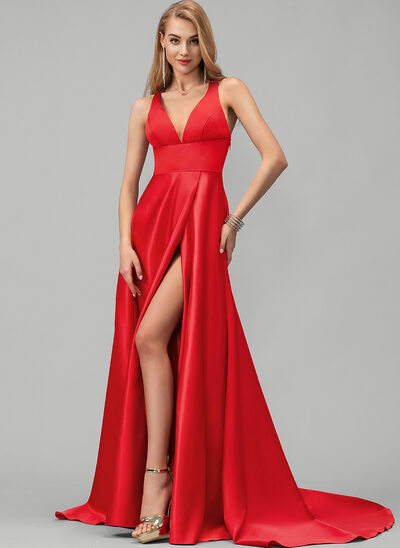 A-Line V-neck Sweep Train Satin Evening Dress With Split Front