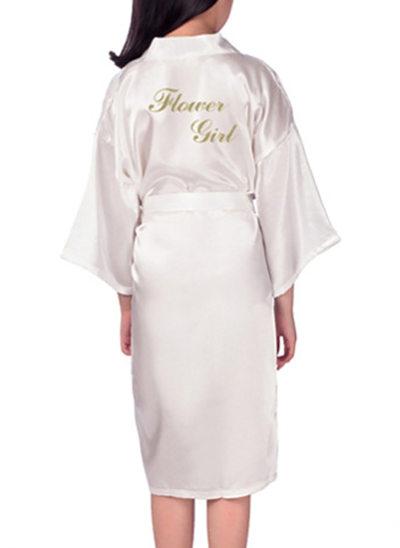 Flower Girl Satin With Knee-Length Satin Robes