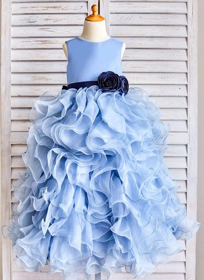 Ball Gown Floor-length Flower Girl Dress - Organza Sleeveless Scoop Neck With Sash/Flower(s)