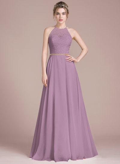 Vestidos princesa/ Formato A Decote redondo Longos Tecido de seda Renda Vestido de baile com Beading