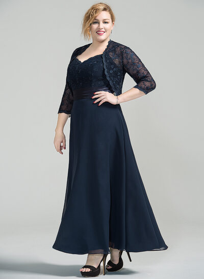 A-Line/Princess Sweetheart Ankle-Length Chiffon Lace Mother of the Bride Dress