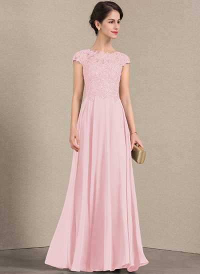 A-Linie/Princess-Linie U-Ausschnitt Bodenlang Chiffon Spitze Kleid für die Brautmutter mit Perlstickerei