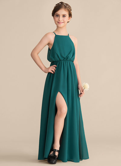 A-Line/Princess Square Neckline Floor-Length Chiffon Junior Bridesmaid Dress With Split Front
